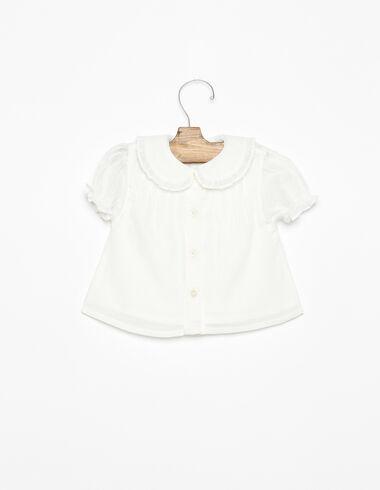 Camisa cuello bebé jaretas volante blanca - Ver todo > - Nícoli