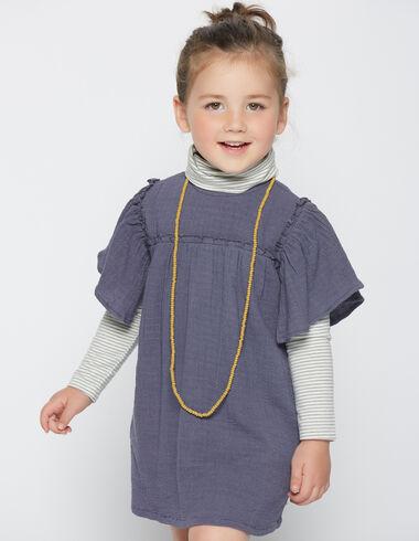 Girl's blue short bell sleeve dress - Dresses - Nícoli