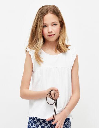 Camiseta niña hombro volante blanca - Niña - Nícoli