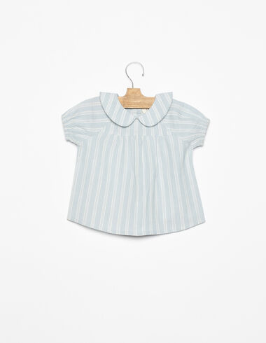 Camisa cuello bebé rayas azul  - Ver todo > - Nícoli