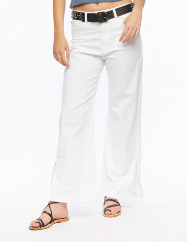 Pantalón wide leg blanco - Denim - Nícoli