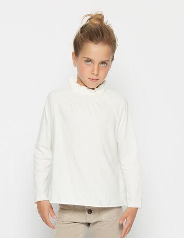 Girl's natural perkins collar top - Shirts - Nícoli