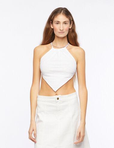 White v-neck halter top - T-shirts - Nícoli