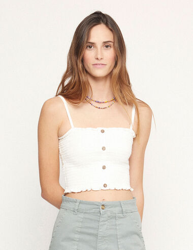 White ruched top with buttons - View all > - Nícoli