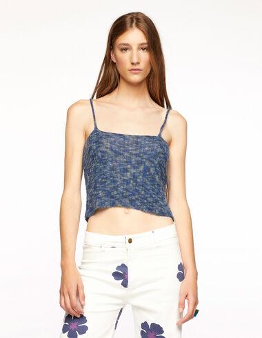 Top côtelé multicolore bleu - Blue Knit Clothes - Nícoli