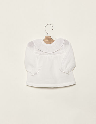 Off-white border ruffle neck blouse - Shirts - Nícoli