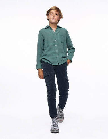 Long anthracite corduroy chinos with pockets - Young Mothers   PARÍS - Nícoli