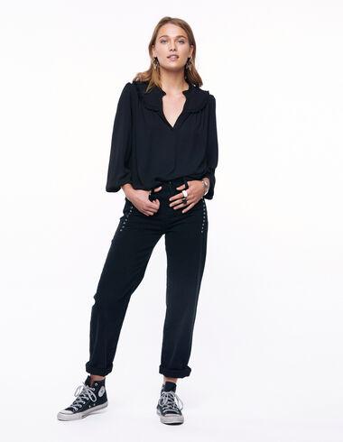 Pantalón cortes tachuelas negro - Denim - Nícoli