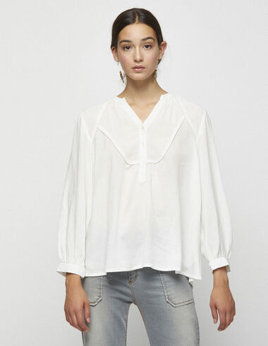 Off-white gold blouse with tie - View all > - Nícoli