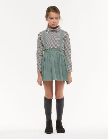 Green corduroy skirt with braces - Skirts - Nícoli