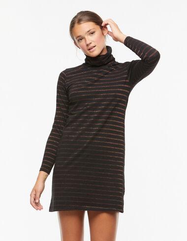 Black ochre-stripe turtleneck dress - En Palma con las hermanas Baronet - Nícoli