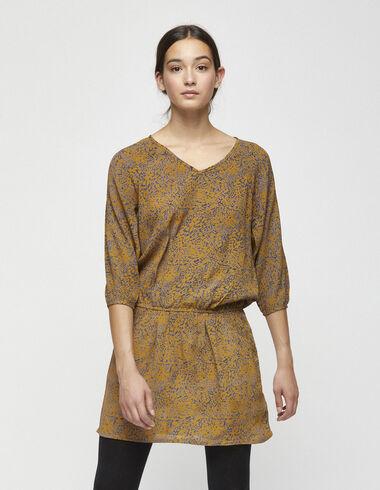 Robe froncée imprimé serpent noisette - Robes - Nícoli
