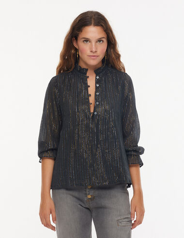 Chemise col perkins rayures lurex anthracite - Voir tout > - Nícoli