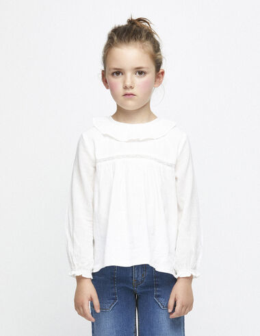 Off-white border ruffle neck blouse - View all > - Nícoli