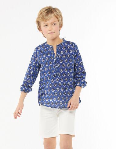 Blue buti print grandad collar shirt - Shirts - Nícoli