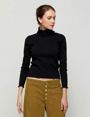 Black high neck top - T-shirts - Nícoli