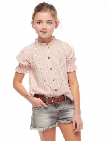 Chemise col perkins boutons rayures rose - Voir tout > - Nícoli