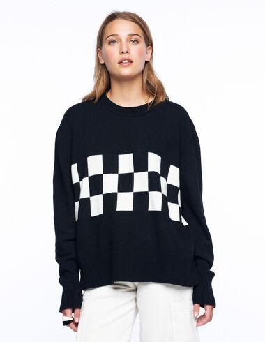 Black jumper with ecru checks - Olivia's Favourites - Nícoli