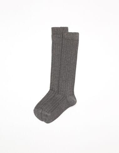 Calcetín canalé gris oscuro - Calcetines - Nícoli