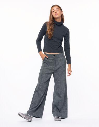 Grey herringbone wide trousers - View all > - Nícoli