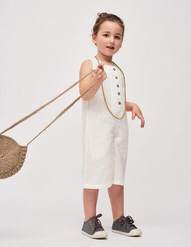 Girl's white culotte jumpsuit - Girl - Nícoli