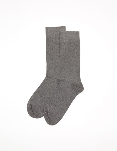 Dark grey ribbed socks - Socks - Nícoli