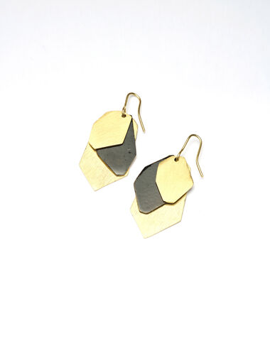 Black and gold leaves earrings - Golden Collection - Nícoli