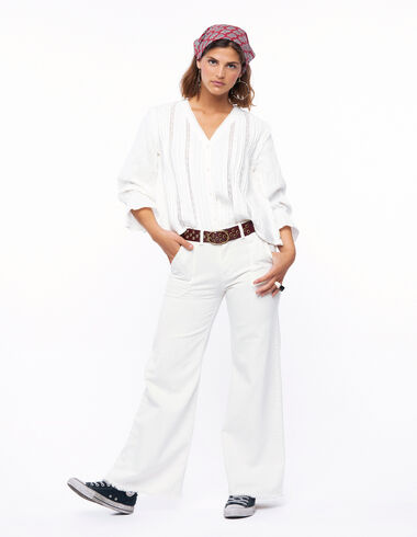Pantalón wide leg bolsillos crudo - Denim - Nícoli
