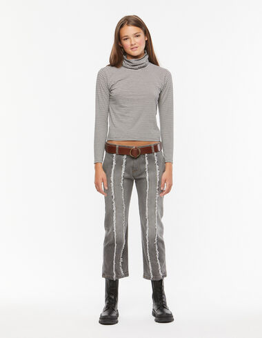 Grey straight leg fringed trousers - Trousers - Nícoli