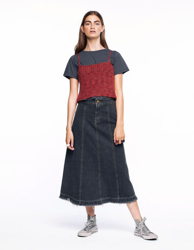 Long anthracite denim skirt - Denim - Nícoli