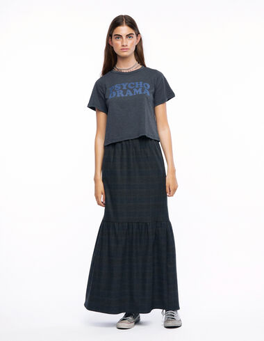 Falda larga cuadros gris y azul - Ver todo > - Nícoli