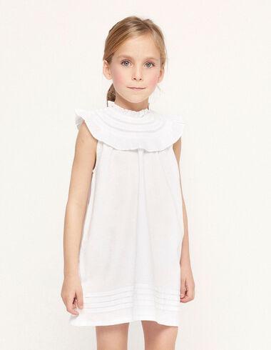 Vestido cuello perkins volante blanco - Ver todo > - Nícoli