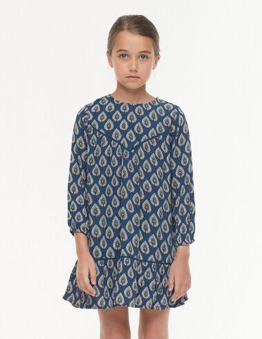Vestido corte pico hojas azul - Ver todo > - Nícoli