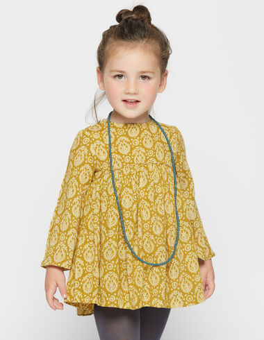 Girl's green paisley bell sleeve dress - Dresses - Nícoli