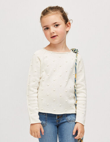 Girl's off-white bobble sweater - Jumpers & Sweatshirts - Nícoli