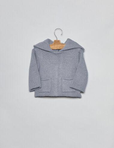 Gilet lavande point jersey à capuche pour bébés - Cardigans - Nícoli