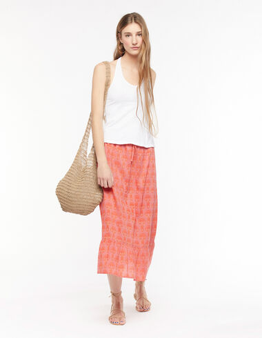 Long strawberry herringbone skirt - Skirts - Nícoli