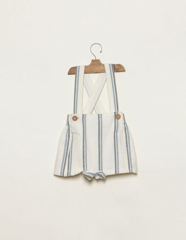 Blue two-tone striped dungaree bloomers - Playsuits & Dungarees - Nícoli