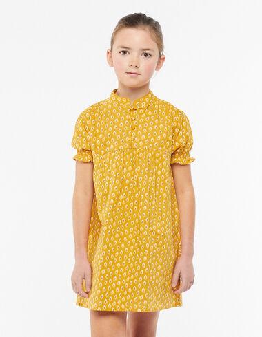 Vestido cuello mao botones hojas mostaza - Ver todo > - Nícoli