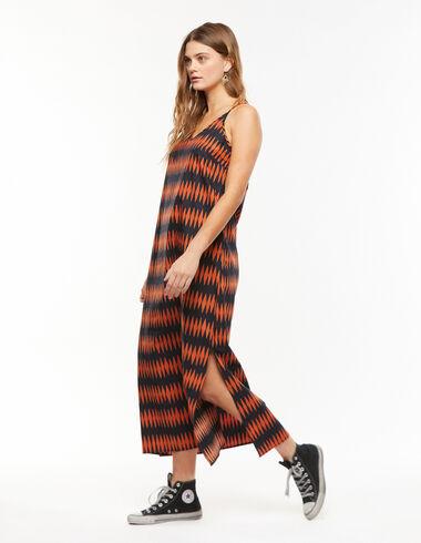 Vestido largo escote pico rombos naranja - Vestidos - Nícoli