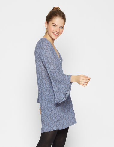 Girl's blue paisley bell sleeve dress - View all > - Nícoli