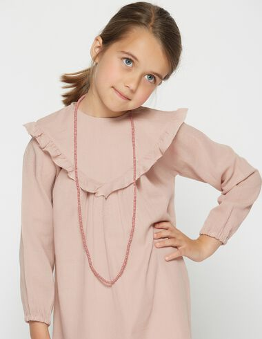 Girl's pink ruffle v-neck dress - View all > - Nícoli
