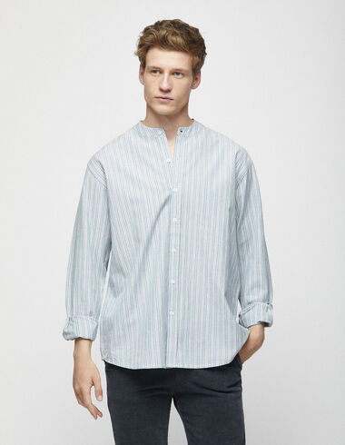 Anthracite striped mandarin collar shirt - Shirts - Nícoli