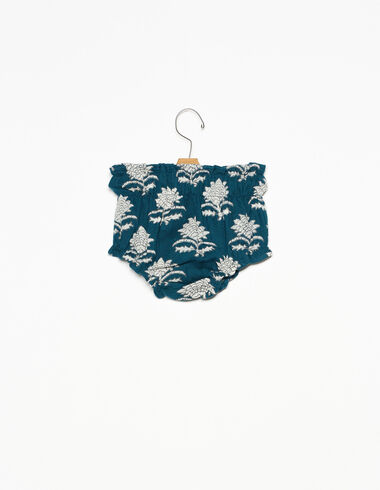 Dark green Indian flower elasticated bloomers - The Autumn Print - Nícoli