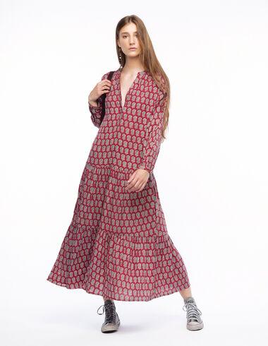Long terracotta floral buti dress - Long Dresses for Summer - Nícoli