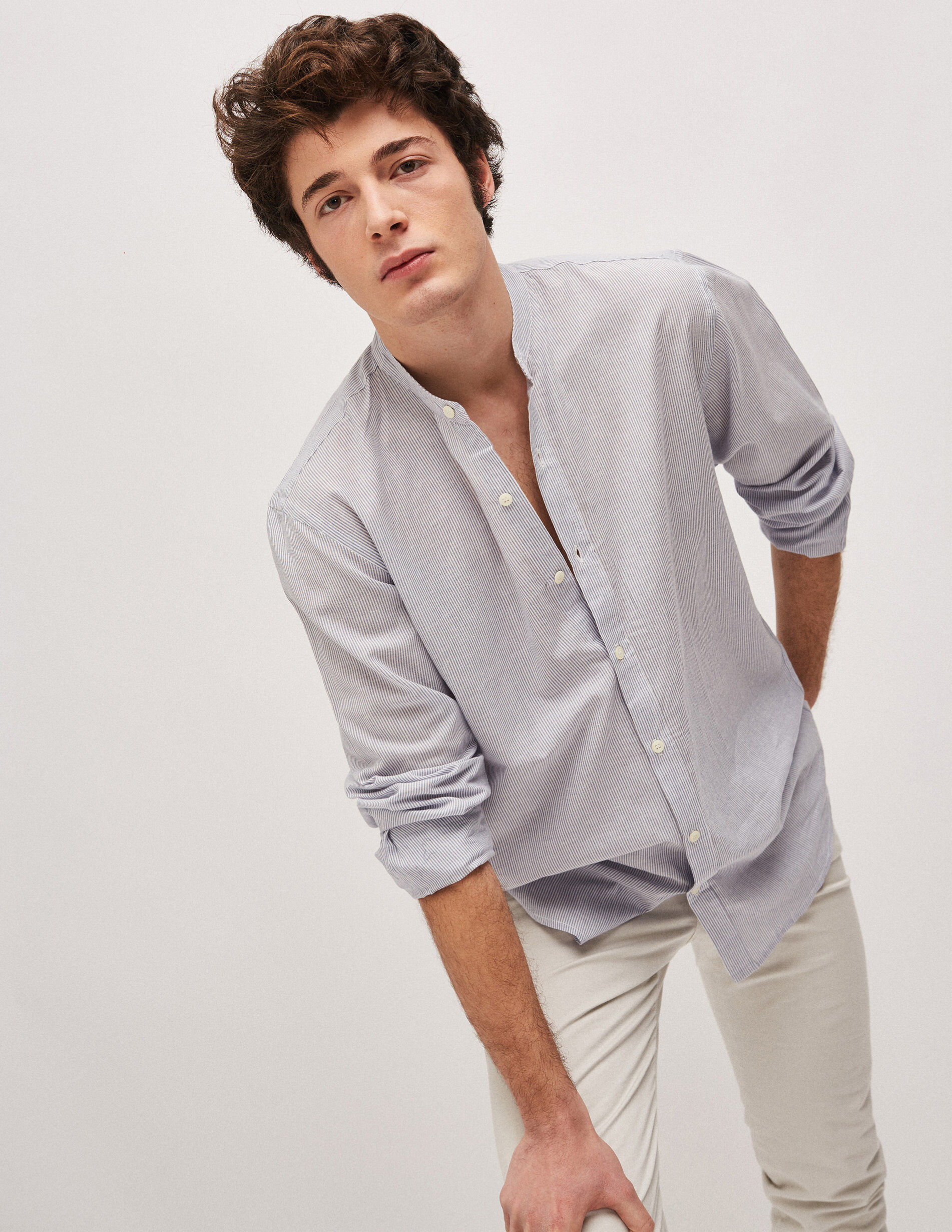 Fines Homme Chemise Col Mao Rayures WEH9D2YI