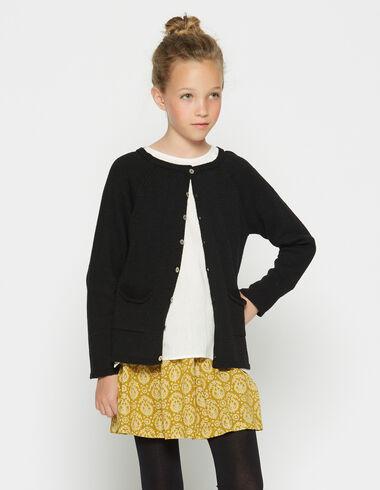 Gilet point jersey noir à poches pour petites filles - Cardigans - Nícoli