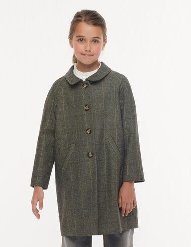 Mustard striped herringbone round-neck coat - Mid-season coats - Nícoli