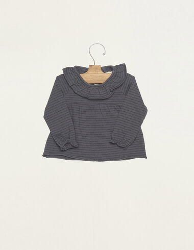 Blue/Anthracite small stripes ruffle neck t-shirt - T-shirts - Nícoli