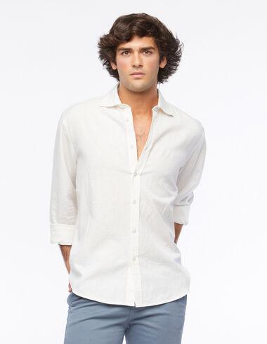 Chemise col V lin blanche - Voir tout > - Nícoli